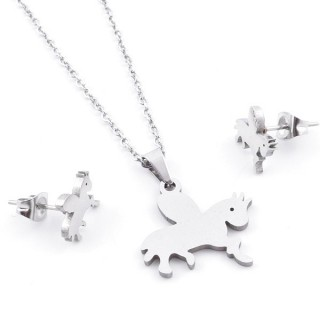 49397-27 SET OF CHAIN, PENDANT AND MATCHING EARRINGS IN STAINLESS STEEL