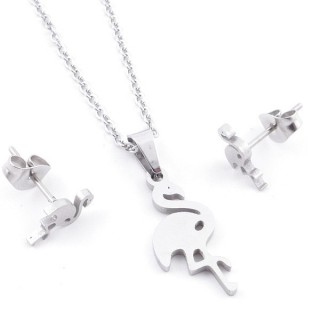 49397-28 SET OF CHAIN, PENDANT AND MATCHING EARRINGS IN STAINLESS STEEL