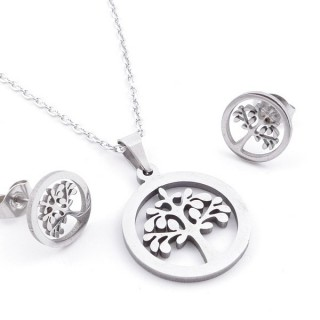 49397-29 SET OF CHAIN, PENDANT AND MATCHING EARRINGS IN STAINLESS STEEL