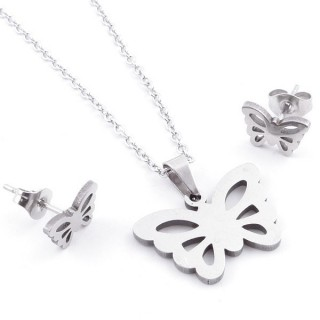 49397-30 SET OF CHAIN, PENDANT AND MATCHING EARRINGS IN STAINLESS STEEL