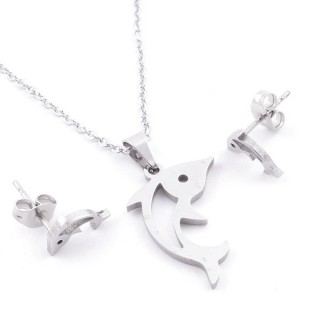 49397-32 SET OF CHAIN, PENDANT AND MATCHING EARRINGS IN STAINLESS STEEL