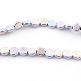 42627-14 STRING OF 70 BUTTON SHAPED 6 MM HEMATITE BEADS