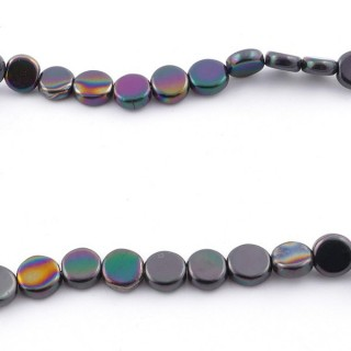 42627-15 STRING OF 70 BUTTON SHAPED 6 MM HEMATITE BEADS