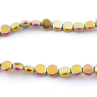 42627-16 STRING OF 70 BUTTON SHAPED 6 MM HEMATITE BEADS