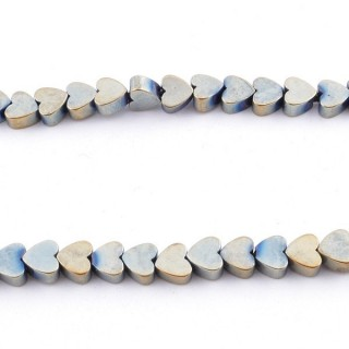 42638-12 STRING OF 40 CMS WITH 4 MM HEMATITE BEADS IN HEART SHAPE