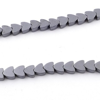 42638-13 STRING OF 40 CMS WITH 4 MM HEMATITE BEADS IN HEART SHAPE