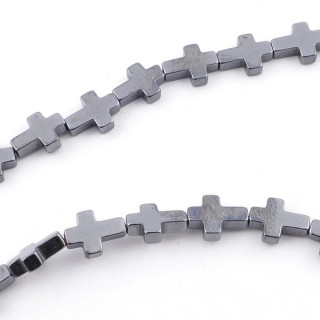 42637-11 STRING OF 40 CMS WITH 6 X 8 MM HEMATITE BEADS IN CROSS SHAPE