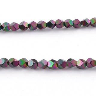 42648-10 40 CM STRING OF 4 MM OCTAGONAL SHAPED HEMATITE BEADS