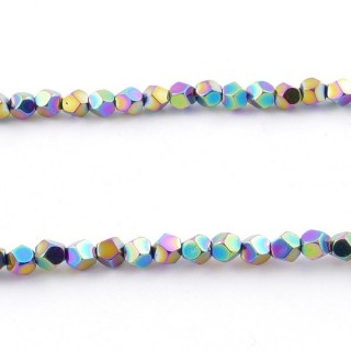 42648-14 40 CM STRING OF 4 MM OCTAGONAL SHAPED HEMATITE BEADS