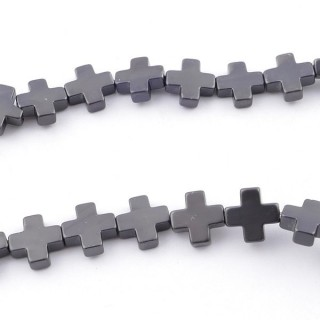 42644-02 40 CM STRING OF 8 MM CROSS SHAPED HEMATITE BEADS