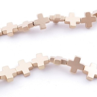 42644-04 40 CM STRING OF 8 MM CROSS SHAPED HEMATITE BEADS