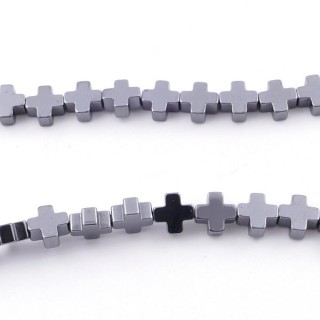 42647-01 40 CM STRING OF 6 MM CROSS SHAPED HEMATITE BEADS