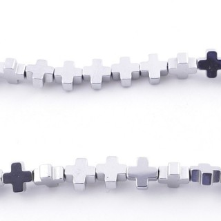 42647-02 40 CM STRING OF 6 MM CROSS SHAPED HEMATITE BEADS