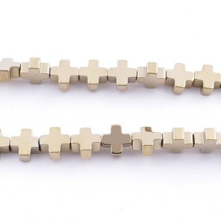 42647-03 40 CM STRING OF 6 MM CROSS SHAPED HEMATITE BEADS
