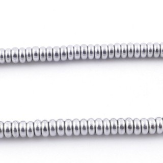 42642-01 40 CM STRING OF 4.5 MM DIAMETER HEMATITE DISC BEADS