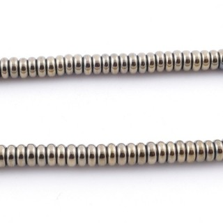 42642-03 40 CM STRING OF 4.5 MM DIAMETER HEMATITE DISC BEADS