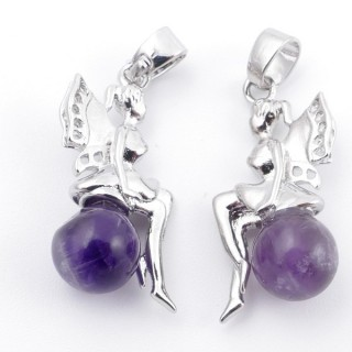 49510-05 PACK OF 2 METAL FASHION JEWELRY 26 X 12 MM PENDANTS WITH STONE IN AMETHYST