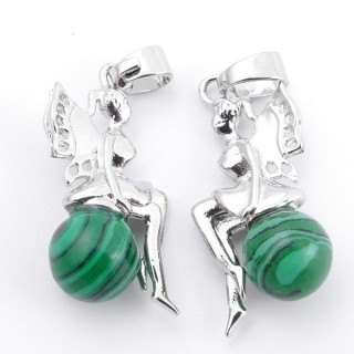 49510-06 PACK OF 2 METAL FASHION JEWELRY 26 X 12 MM PENDANTS WITH STONE IN SYNTHETIC MALACHITE