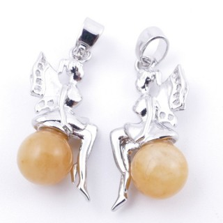 49510-71 PACK OF 2 METAL FASHION JEWELRY 26 X 12 MM PENDANTS WITH STONE IN HONEY JADE