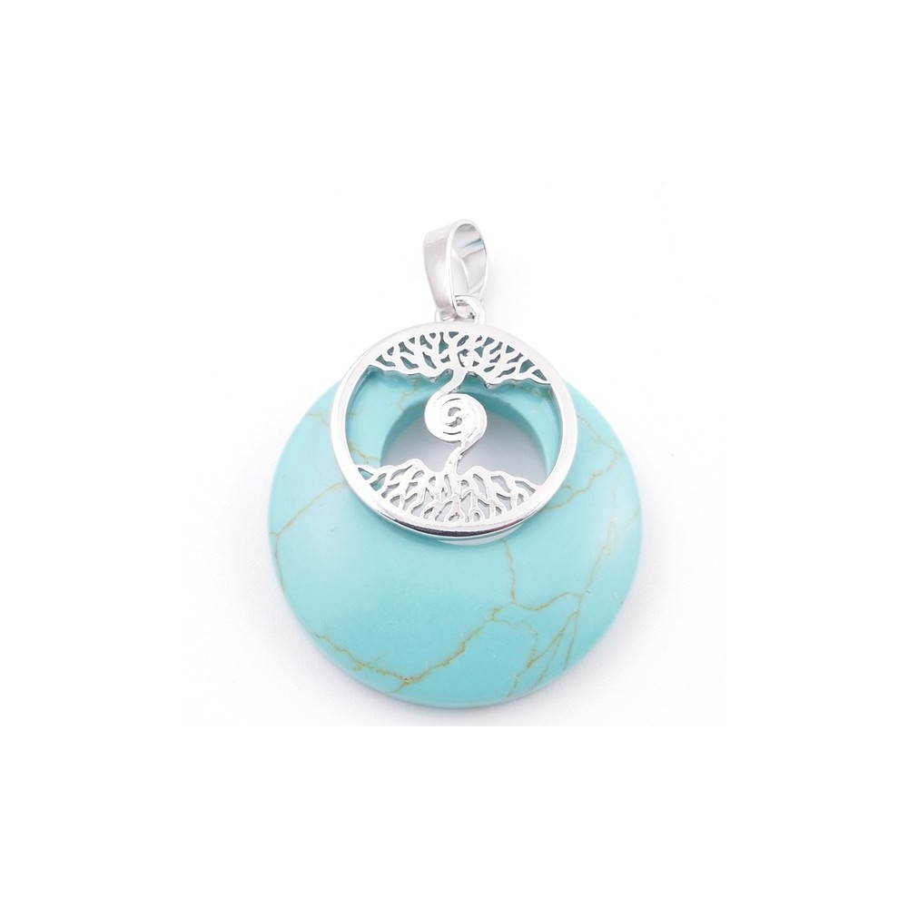 49508-03 FASHION METAL 28 MM TREE OF LIFE PENDANT WITH STONE IN TURQUOISE