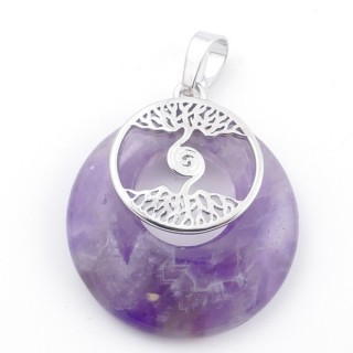 49508-05 FASHION METAL 28 MM TREE OF LIFE PENDANT WITH STONE IN AMETHYST