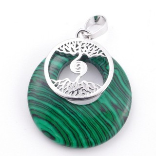 49508-06 FASHION METAL 28 MM TREE OF LIFE PENDANT WITH STONE IN SYNTHETIC MALACHITE
