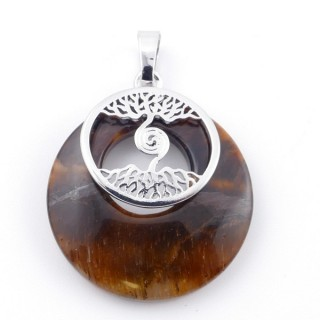 49508-09 FASHION METAL 28 MM TREE OF LIFE PENDANT WITH STONE IN TIGER'S EYE