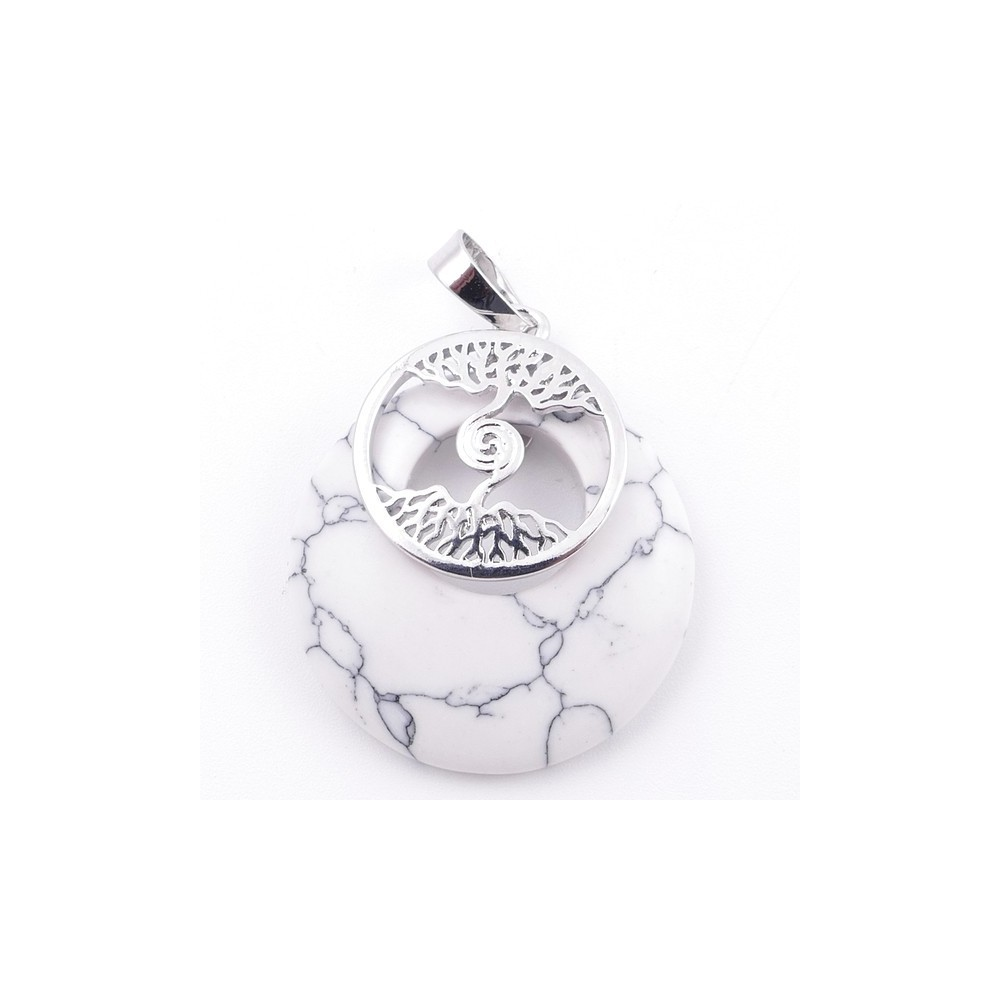 49508-14 FASHION METAL 28 MM TREE OF LIFE PENDANT WITH STONE IN HOWLITE