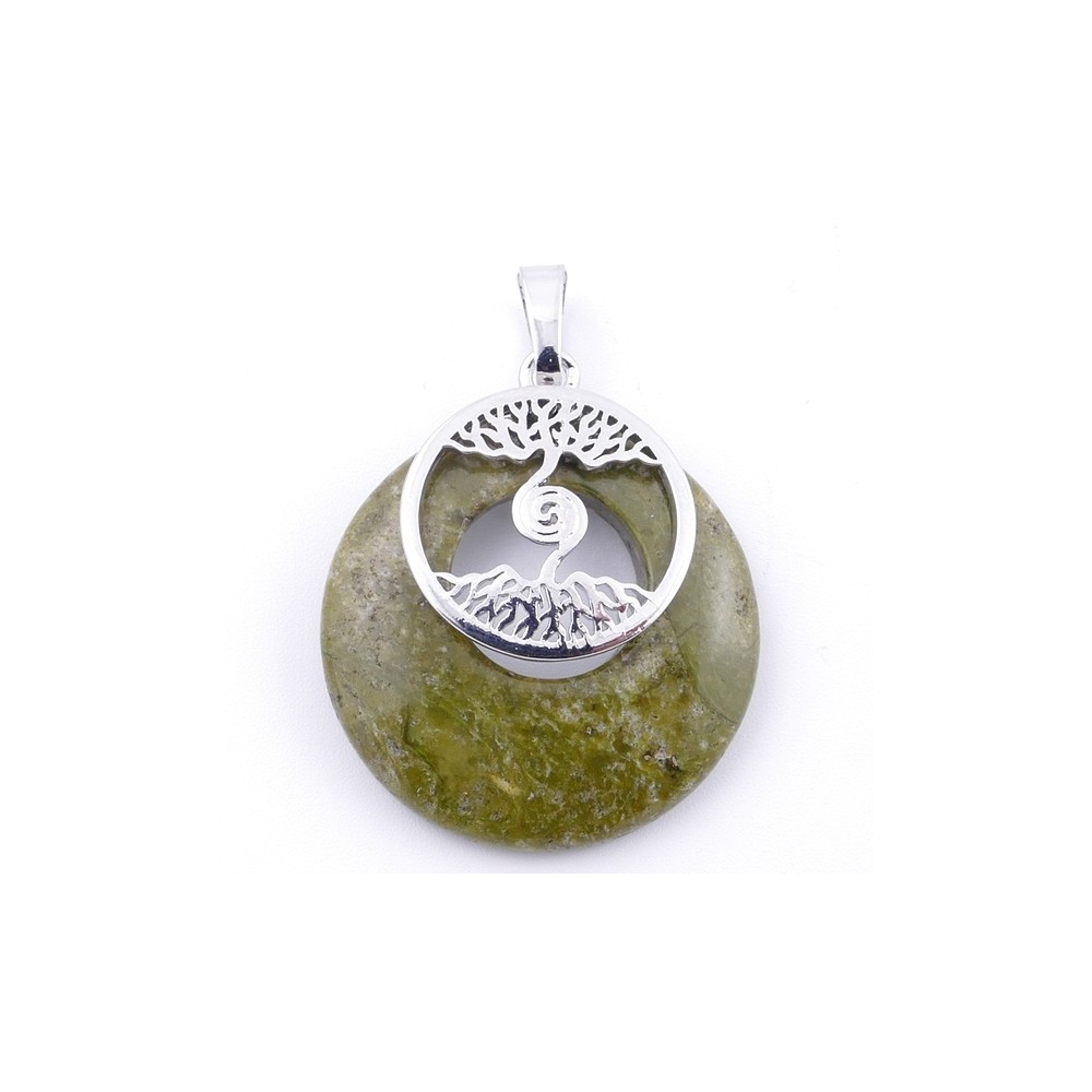 49508-20 FASHION METAL 28 MM TREE OF LIFE PENDANT WITH STONE IN UNAKITE
