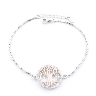 59000-01 TWO-TONE RHODIUM PLATED SILVER 17 + 3 CM BRACELET WITH CUBIC ZIRCON & TREE OF LIFE