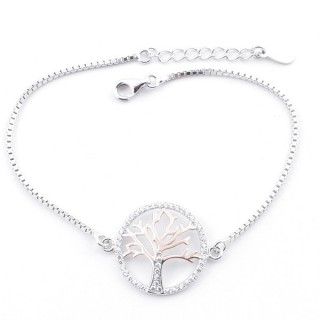 59000-02 TWO-TONE RHODIUM PLATED SILVER 17 + 3 CM BRACELET WITH CUBIC ZIRCON & TREE OF LIFE