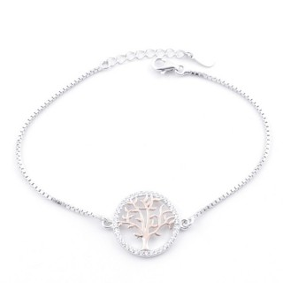 59000-03 TWO-TONE RHODIUM PLATED SILVER 17 + 3 CM BRACELET WITH CUBIC ZIRCON & TREE OF LIFE