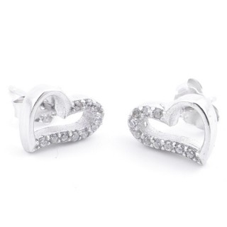 59001-02 RHODIUM PLATED 925 SILVER EARRINGS WITH CUBIC ZIRCON IN HEART SHAPE 8 X 9 MM