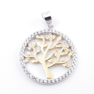 59002-01 RHODIUM PLATED SILVER 20 MM PENDANT WITH CUBIC ZIRCONS AND TREE OF LIFE