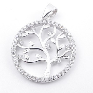 59002-02 RHODIUM PLATED SILVER 20 MM PENDANT WITH CUBIC ZIRCONS AND TREE OF LIFE
