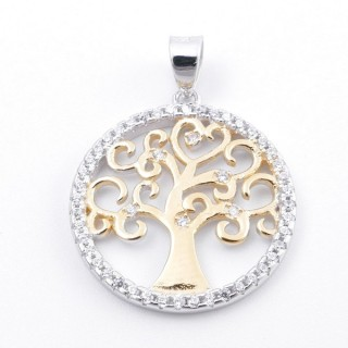 59002-03 RHODIUM PLATED SILVER 20 MM PENDANT WITH CUBIC ZIRCONS AND TREE OF LIFE