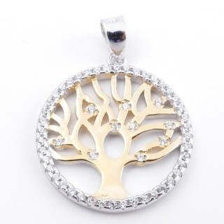 59002-04 RHODIUM PLATED SILVER 20 MM PENDANT WITH CUBIC ZIRCONS AND TREE OF LIFE