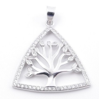 59002-05 RHODIUM PLATED SILVER 24 X 26 MM PENDANT WITH CUBIC ZIRCONS AND TREE OF LIFE