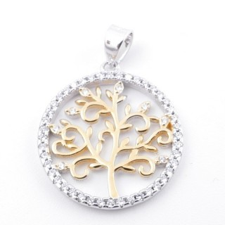 59002-06 RHODIUM PLATED SILVER 20 MM PENDANT WITH CUBIC ZIRCONS AND TREE OF LIFE