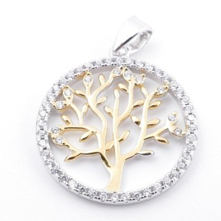 59002-07 RHODIUM PLATED SILVER 20 MM PENDANT WITH CUBIC ZIRCONS AND TREE OF LIFE