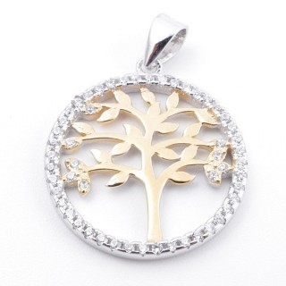 59002-08 RHODIUM PLATED SILVER 20 MM PENDANT WITH CUBIC ZIRCONS AND TREE OF LIFE