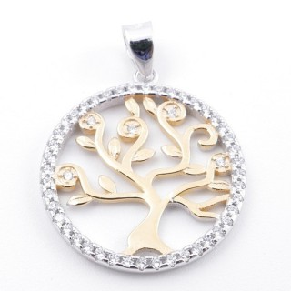 59002-09 RHODIUM PLATED SILVER 20 MM PENDANT WITH CUBIC ZIRCONS AND TREE OF LIFE