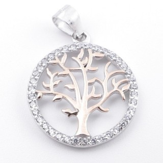59002-10 RHODIUM PLATED SILVER 18 MM PENDANT WITH CUBIC ZIRCONS AND TREE OF LIFE