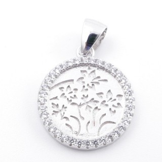 59002-11 RHODIUM PLATED SILVER 16 MM PENDANT WITH CUBIC ZIRCONS AND TREE OF LIFE