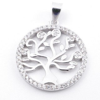59002-12 RHODIUM PLATED SILVER 20 MM PENDANT WITH CUBIC ZIRCONS AND TREE OF LIFE