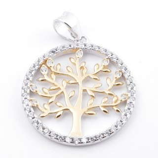 59002-13 RHODIUM PLATED SILVER 20 MM PENDANT WITH CUBIC ZIRCONS AND TREE OF LIFE