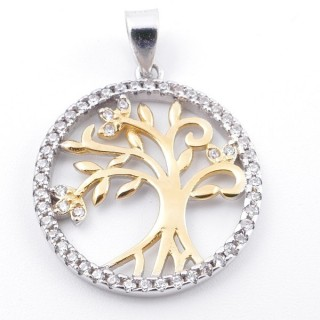 59002-14 RHODIUM PLATED SILVER 20 MM PENDANT WITH CUBIC ZIRCONS AND TREE OF LIFE
