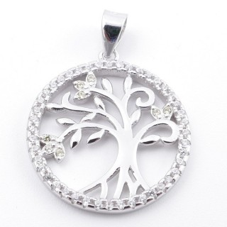 59002-15 RHODIUM PLATED SILVER 20 MM PENDANT WITH CUBIC ZIRCONS AND TREE OF LIFE