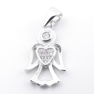 59004 RHODIUM PLATED SILVER AND CUBIC ZIRCON 18 X 10 MM PENDANT IN SHAPE OF ANGEL