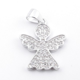 59006 RHODIUM PLATED SILVER AND CUBIC ZIRCON 20 X 16 MM PENDANT IN SHAPE OF ANGEL